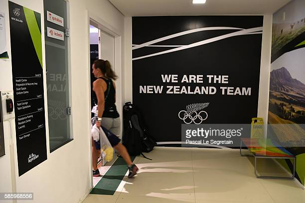The entrance of the relaxing room of the New Zealand team Rio 2016 Olympic games is seen in the Athletes village on August 4, 2016 in Rio de Janeiro,...
