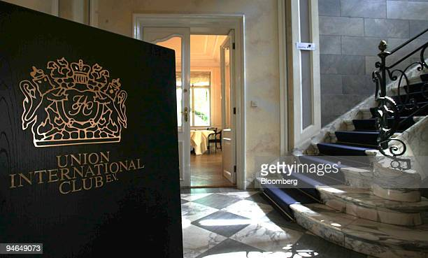 The entrance of the Restaurant Villa Merton is seen in the Union International Club in Frankfurt, Germany, Thursday, May 11, 2006.