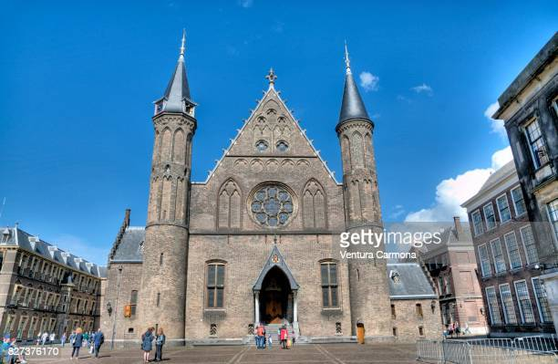 the entrance of the ridderzaal in the hague - the netherlands - binnenhof stock photos and pictures