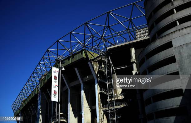 The entrance of Twickenham Stadium home to England Rugby is transformed into a drivethru COVID19 testing operation beginning today for key workers on...