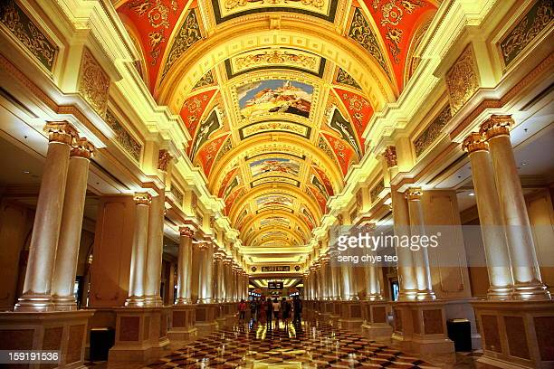 the entrance of venetian - the venetian macao stock photos and pictures