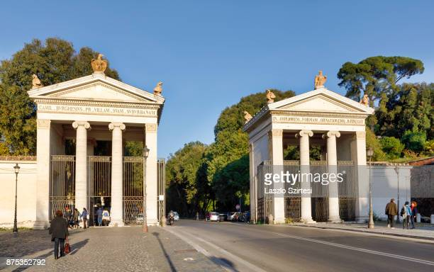 The entrance of Villa Borgese is seen at Piazzale Flaminio square on November 1 2017 in Rome Italy Rome is one of the most popular tourist...