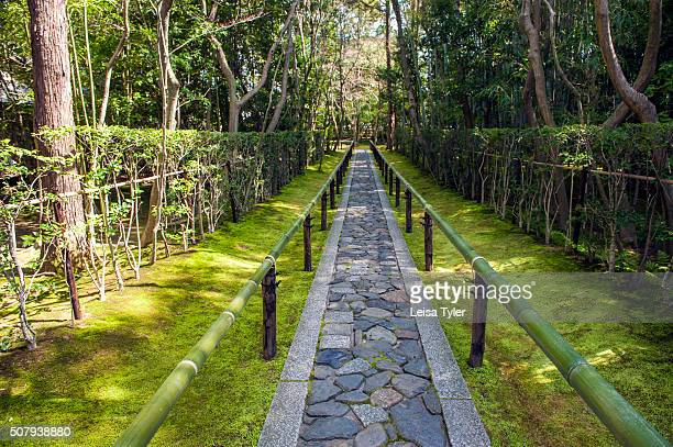 The entrance pathway at the Kotoin Zen Buddhist temple a subtemple of the Daitokuji temple complex in Kyoto