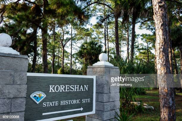 The entrance sign for Koreshan State Historic Site