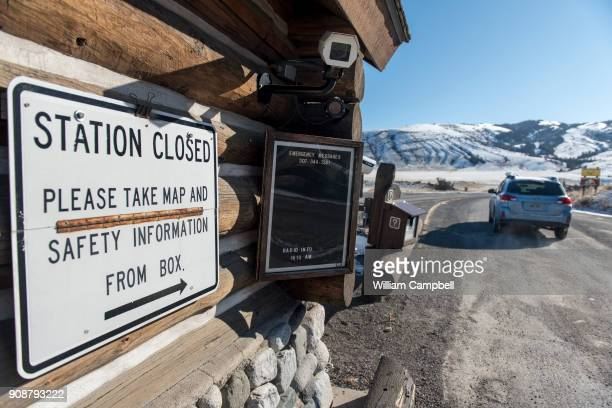 The entrance station to the north entrance to Yellowstone National Park at Gardiner MT is closed but visitors are allowed to enter the park with the...