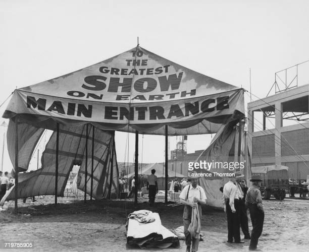 The entrance tent for the Ringling Bros. And Barnum & Bailey Circus, USA, circa 1950.