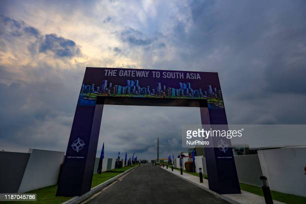 The entrance themed ' The Gateway to South Asia' is seen during an event to officially declare the 269 hectares of land reclaimed from the sea for...