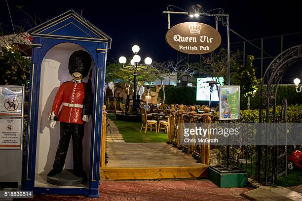 The entrance to a British themed sports pub is seen in popular Soho Square on March 31 2016 in Sharm El Sheikh Egypt Prior to the Arab Spring in 2011...