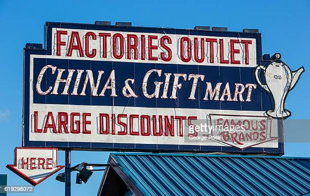 The entrance to a factory outlet store on The Parkway is viewed on October 18 2016 in Pigeon Forge Tennessee Located near the entrance to Great Smoky...