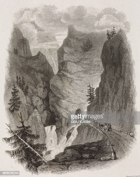 The entrance to a gallery on the Simplon Pass road near Gondo Divedro or Simplon Valley Switzerland engraving by Edward Finden after a drawing by...