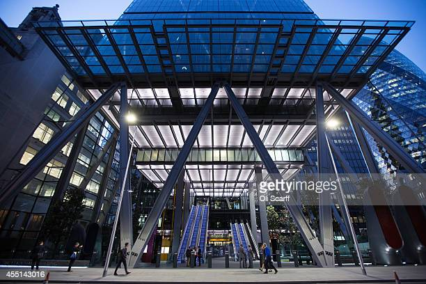 The entrance to a newly constructed skyscraper The Leadenhall Building on September 9 2014 in London England The skyscraper located in the City of...