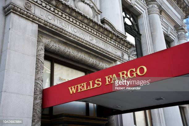 SAN FRANCISCO CALIFORNIA SEPTEMBER 12 2018 The entrance to a Wells Fargo Bank in San Francisco California located in the historic 1910 Union Trust...