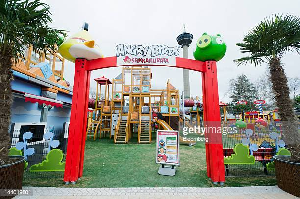 The entrance to Angry Birds Land an Angry Birdsthemed activity center within the Sarkanniemi adventure park is seen near Tampere Finland on Friday...
