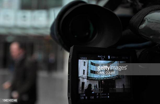 The entrance to BBC's New Broadcasting House office is pictured in a television camera viewfinder in central London on November 12 2012 The BBC...