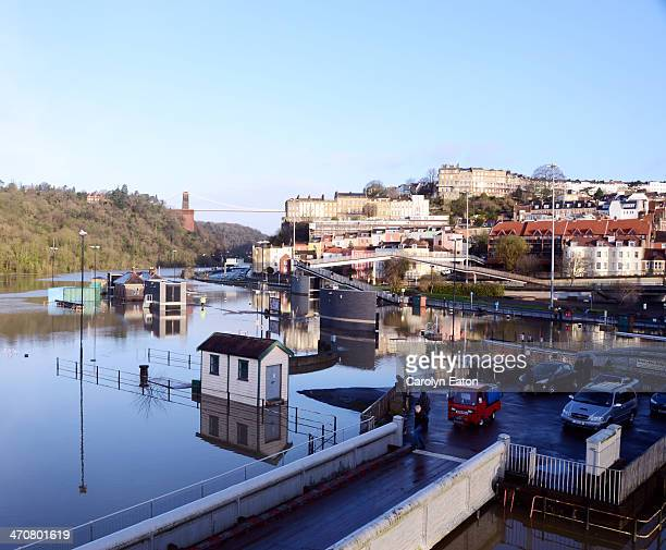 The entrance to Bristol's Floating Harbour at the Cumberland Basin. The locks are completely inundated with the benign looking waters of the High...