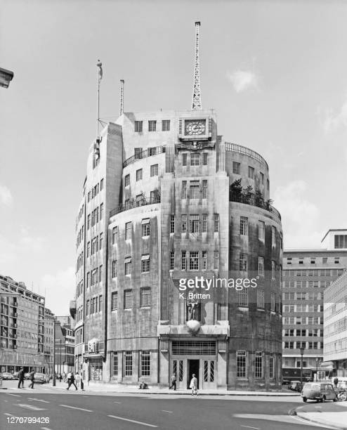 The entrance to Broadcasting House the Art Deco headquarters of the BBC designed by architect George Val Myer and located on Langham Place in London...