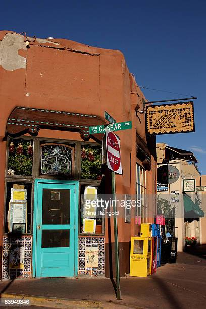The entrance to Cafe Pasqual's housed in a traditional adobe building on September 12 2008 in Sante Fe New Mexico Santa Fe is renowned for it's...