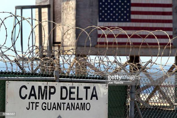 The entrance to Camp Delta where detainees from the US war in Afghanistan live is shown April 7 2004 in Guantanamo Bay Cuba On April 20 the US...