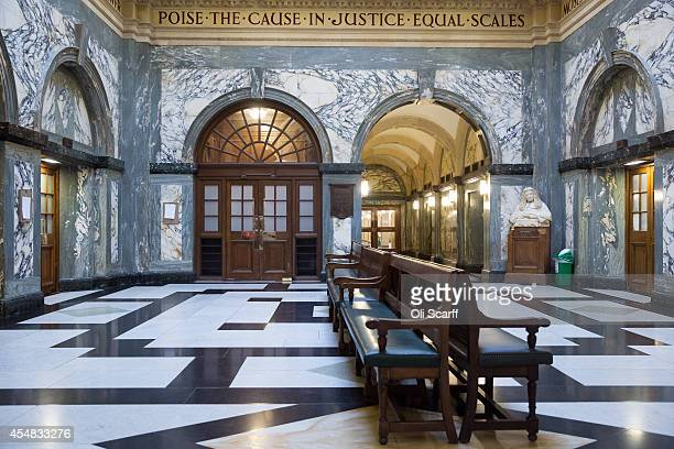 The entrance to Court One in the Grand Hall of the Central Criminal Court known as the 'Old Bailey' on September 3 2014 in London England The Old...