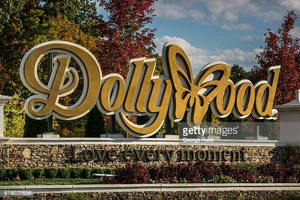 The entrance to Dollywood is viewed on October 18 2016 in Pigeon Forge Tennessee Located near the entrance to Great Smoky Mountains National Park...