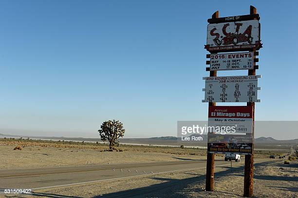 The entrance to El Mirage Dry Lake at SCTA Southern California Timing Association's Land Speed Races 2016 Season Opening Day on May 14 2016 in...