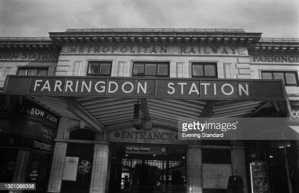 The entrance to Farringdon Station in London, on the Metropolitan Line, UK, 25th May 1973.