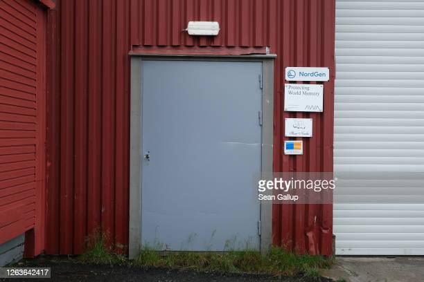 The entrance to former coal mine number 3 which is home to the Arctic World Archive that will include the GitHub Arctic Code Vault stands on Svalbard...
