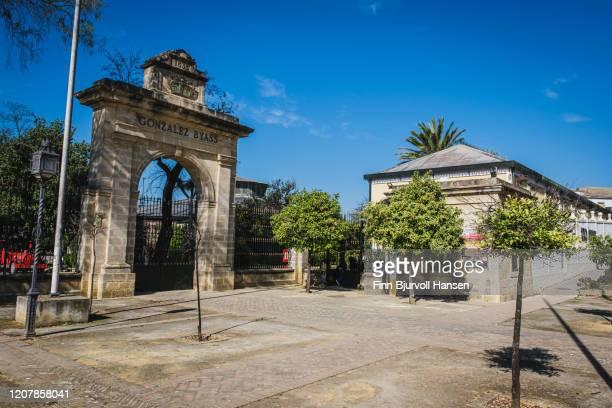 the entrance to gonzalez byass tio pepe bodegas in jerez spain - finn bjurvoll stockfoto's en -beelden