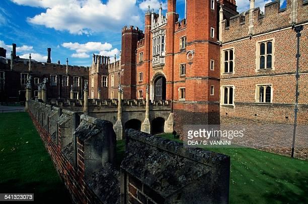 The entrance to Hampton Court Palace, Richmond-upon-Thames, England, United Kingdom.