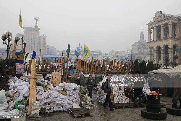 The entrance to independence square, Kiev, is barricaded with all kind of materials.