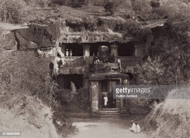 The entrance to Indra Sabha Cave, a Jain temple cut into the rock at Ellora, Maharashtra, India, 1889. The cave is part of the rock-cut...