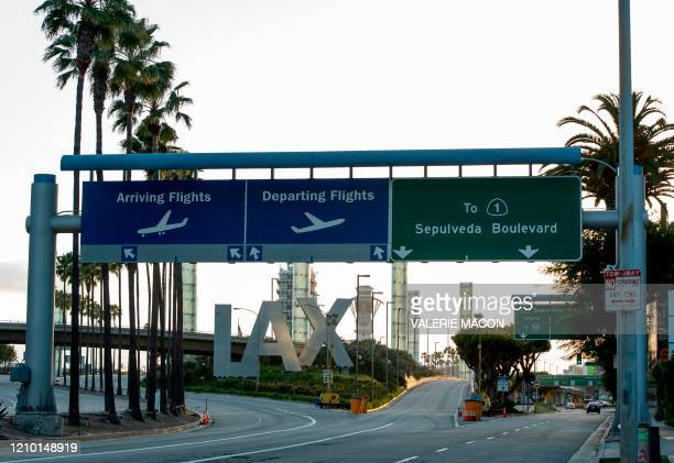 The entrance to Los Angeles International Airport is seen during the outbreak of the novel coronavirus which causes COVID19 April 16 in Los Angeles