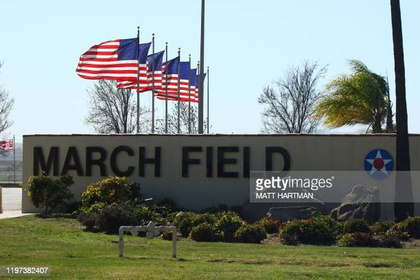 The entrance to March Air Reserve Base in Riverside California on January 29 where a charter plane with passengers evacuated from Wuhan the Chinese...