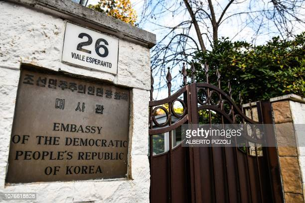The entrance to North Korea's embassy in Italy is pictured on January 3 2019 in Rome North Korea's top diplomat in Italy has sought asylum and gone...
