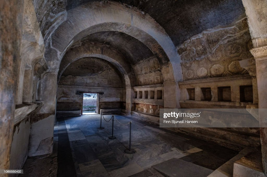 The entrance to one of the many baths in the city of Pompeii Italy : Stock-Foto