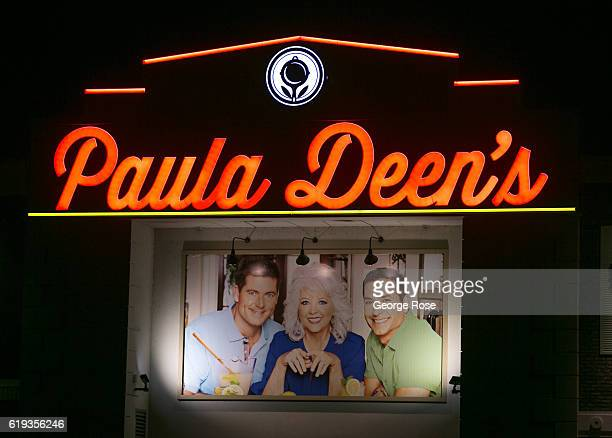 The entrance to Paula Deen's Family Kitchen restaurant at The Island is viewed on October 18, 2016 in Pigeon Forge, Tennessee. Located near the...