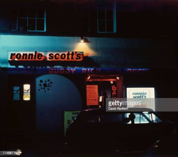 The entrance to Ronnie Scott's Jazz Club at at 47 Frith Street Soho London circa 1975 On the bill is American drummer Budy Rich and his orchestra