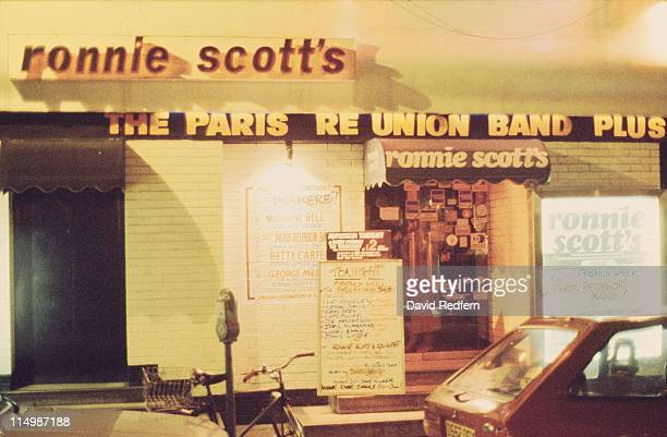 The entrance to Ronnie Scott's Jazz Club at at 47 Frith Street Soho London 1987 On the bill is the Paris Reunion Band