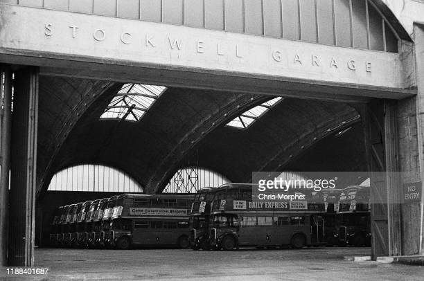 The entrance to Stockwell Bus Garage south London 26th February 1967 Inside are Leyland Titan doubledecker buses