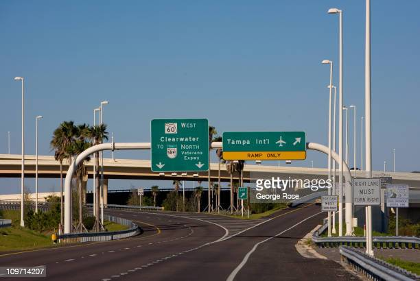 The entrance to Tampa International Airport is viewed on February 14 2011 in Tampa Florida Hit hard by the recent economic downturn Tampa is slowly...