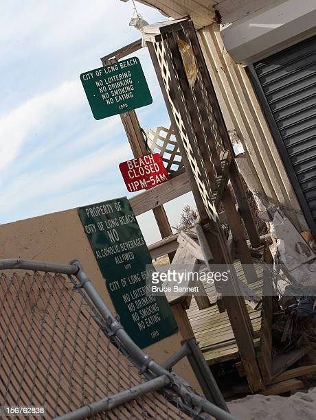 The entrance to the boardwalk is blocked at the southern end of New York Avenue on November 20 2012 in Long Beach New York More than three weeks...