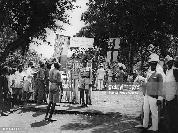 The entrance to the Botanical Gardens in Freetown Sierra Leone December 1931 A welcome party is taking place for visitors taking a cruise on the 'SS...