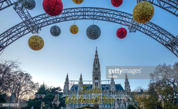 the entrance to the christmas market at rathausplatz, vienna, austria - vsojoy stock pictures, royalty-free photos & images