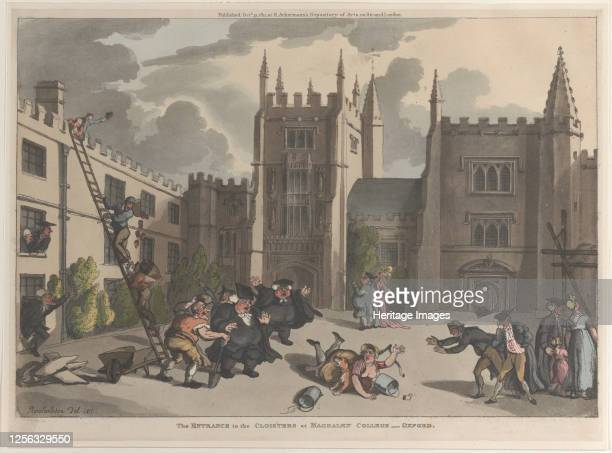 The Entrance to the Cloisters at Magdalen College, Oxford, October 31, 1811. Artist Thomas Rowlandson.
