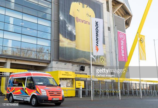 The entrance to the Corona treatment center in the area the north grandstand from the SIGNAL IDUNA PARK on April 04, 2020 in Dortmund. The Bundesliga...