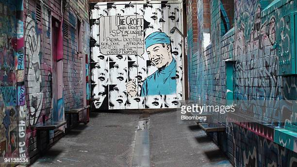 The entrance to the Croft Institute bar stands at the end of a graffiti covered alleyway in Melbourne Australia on Tuesday Dec 8 2009 Melbourne bars...