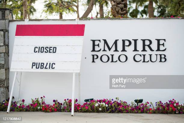 The entrance to the Empire Polo Club is seen on April 09, 2020 in Indio, California. The first weekend of the Coachella Valley Music and Arts...