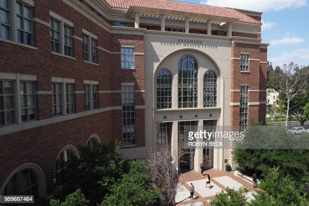 The entrance to the Engemann Student Health Center on the campus of the University of Southern California is seen in Los Angeles California on May 17...