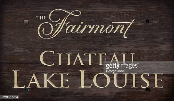 The entrance to the Fairmont Chateau Lake Louise hotel is viewed on April 23 2016 at Lake Louise Alberta Canada Banff is Canada's oldest National...