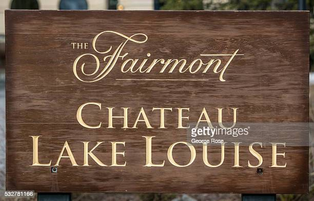 The entrance to the Fairmont Chateau Lake Louise is viewed on April 23 2016 at Lake Louise Alberta Canada Banff is Canada's oldest National Park and...
